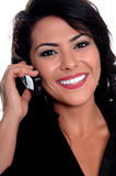 Mexican Woman On Cell Phone Stock Images