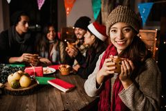 Free Mexican Woman Drinking Ponche Navideño Celebrating A Posada In Christmas Mexico Royalty Free Stock Photo - 163714285