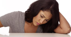 Mexican woman feeling sad Royalty Free Stock Images