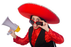 The mexican woman in funny concept on white Stock Image