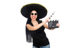 The mexican woman in funny concept on white Royalty Free Stock Image