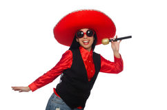 The mexican woman in funny concept on white Stock Photo