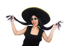 The mexican woman in funny concept on white Royalty Free Stock Photo