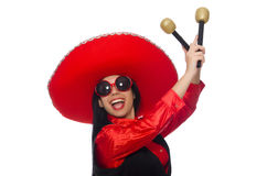 The mexican woman in funny concept on white Royalty Free Stock Images
