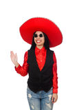 The mexican woman in funny concept on white Stock Photos