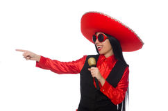 The mexican woman in funny concept on white Royalty Free Stock Photos