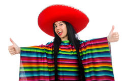 Mexican woman in funny concept on white Royalty Free Stock Photos