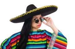 Mexican woman in funny concept on white Royalty Free Stock Images