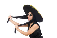 Mexican woman in funny concept on white Royalty Free Stock Photo