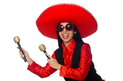 Mexican woman in funny concept on white Royalty Free Stock Photography