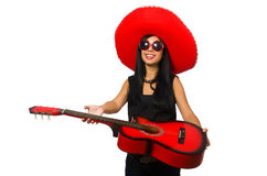 The mexican woman in funny concept on white Stock Photography