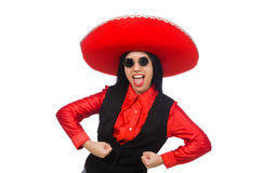 Mexican woman in funny concept on white Stock Photography