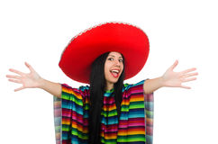 Mexican woman in funny concept on white Stock Images