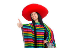 The mexican woman in funny concept on white. Mexican woman in funny concept on white royalty free stock image
