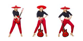 Mexican woman guitarist isolated on white royalty free stock images