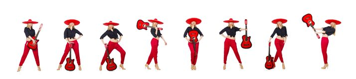 Mexican woman guitarist isolated on white stock photography