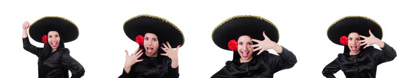 Mexican woman isolated on the white background royalty free stock photos
