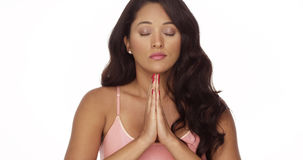 Mexican woman meditating Stock Photo