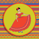 Mexican woman on patterned background Stock Image