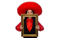 The mexican woman with picture frame isolated on white Royalty Free Stock Images