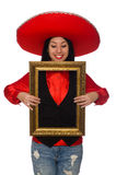 The mexican woman with picture frame isolated on white Royalty Free Stock Image
