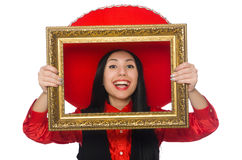 The mexican woman with picture frame on white Stock Images