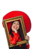 Mexican woman with picture frame on white Royalty Free Stock Photography