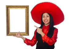 Mexican woman with picture frame on white Stock Photo