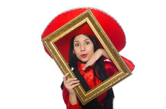 The mexican woman with picture frame on white Stock Image