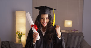 Mexican woman proud of her degree Royalty Free Stock Image