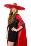 Mexican woman in red clothing Royalty Free Stock Photos