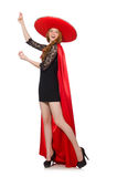 Mexican woman in red clothing Stock Photography