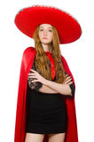Mexican woman in red clothing Stock Image
