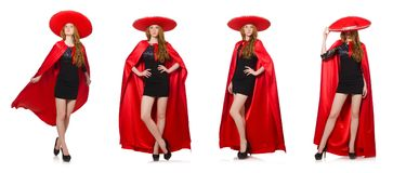 The mexican woman in red clothing on white Royalty Free Stock Images