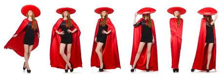 The mexican woman in red clothing on white Stock Photography