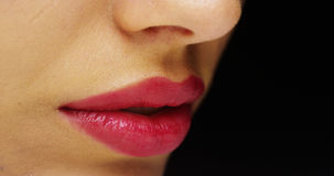 Mexican woman's red luscious lips Royalty Free Stock Photo