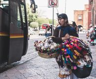 Mexican woman selling handcrafts royalty free stock image