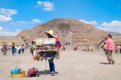 Mexican woman selling typical souvenirs at the Teotihuacan archaeological site in Mexico Stock Image