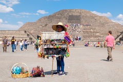 Mexican woman selling typical souvenirs at the Teotihuacan archaeological site in Mexico Stock Photography