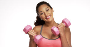 Mexican woman smiling with weights Stock Image