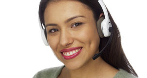 Mexican woman telemarketer smiling at camera Stock Photography