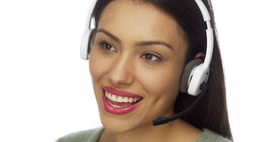 Mexican woman telemarketer talking and smiling Stock Photography