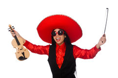 The mexican woman with violin isolated on white Royalty Free Stock Images