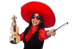 The mexican woman with violin isolated on white Stock Photos