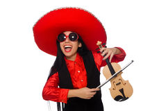 The mexican woman with violin isolated on white Royalty Free Stock Photos