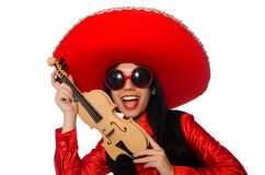 The mexican woman with violin isolated on white Royalty Free Stock Image