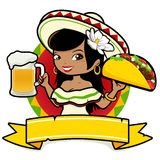 Mexican woman waitress holding beer and taco