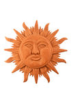 Mexican wooden carved Mayan sun symbol plate isolated on white Royalty Free Stock Photos