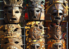 Mexican wooden mask handcrafted wood faces Royalty Free Stock Image
