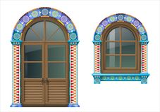 Mexican wooden window and doors. Arched wooden doors and window in Mexican or Spanish style with bright colored ornamental frame. Vector graphics stock illustration